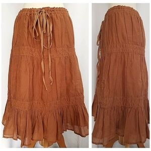 Theory A-line Skirt Size S / P Brown Silk Lined